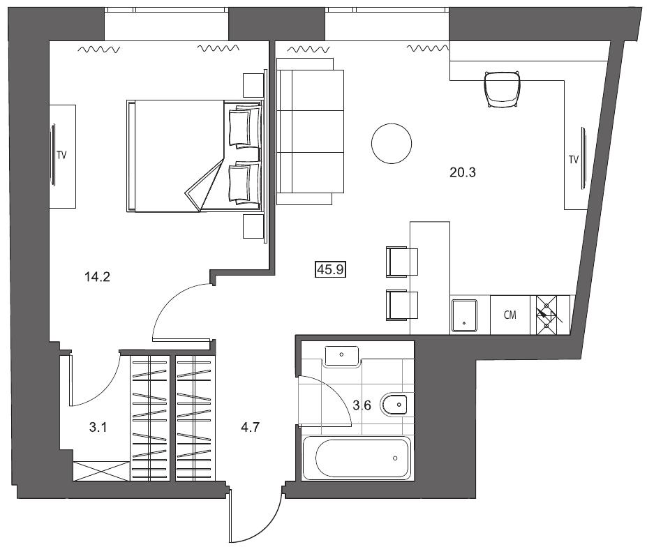 Планировка Двухкомнатная квартира (Евро) площадью 45.9 кв.м в ЖК «YE'S на Социалистической»
