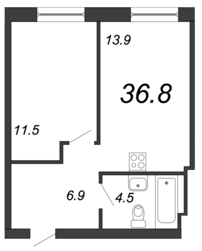 Планировка Однокомнатная квартира площадью 36.8 кв.м в ЖК «YE'S на Социалистической»