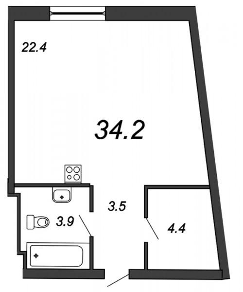 Планировка Студия площадью 34.2 кв.м в ЖК «