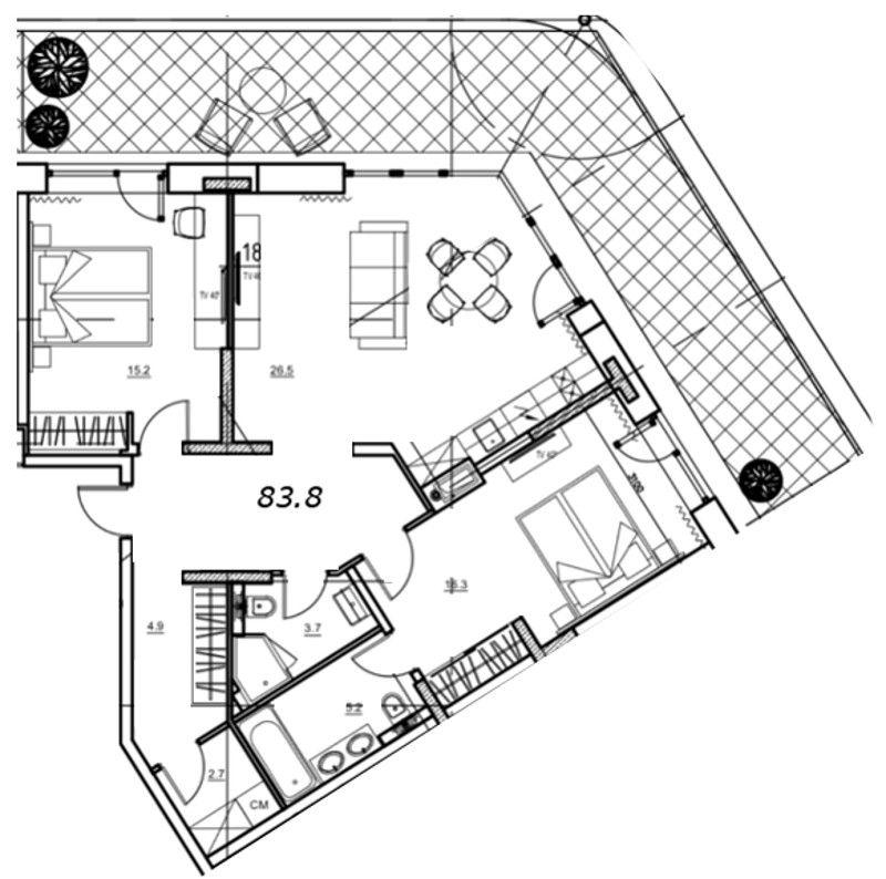 Планировка Двухкомнатная квартира площадью 96.82 кв.м в ЖК «