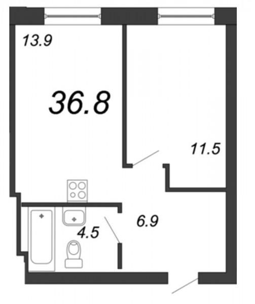 Планировка Однокомнатная квартира площадью 36.8 кв.м в ЖК «