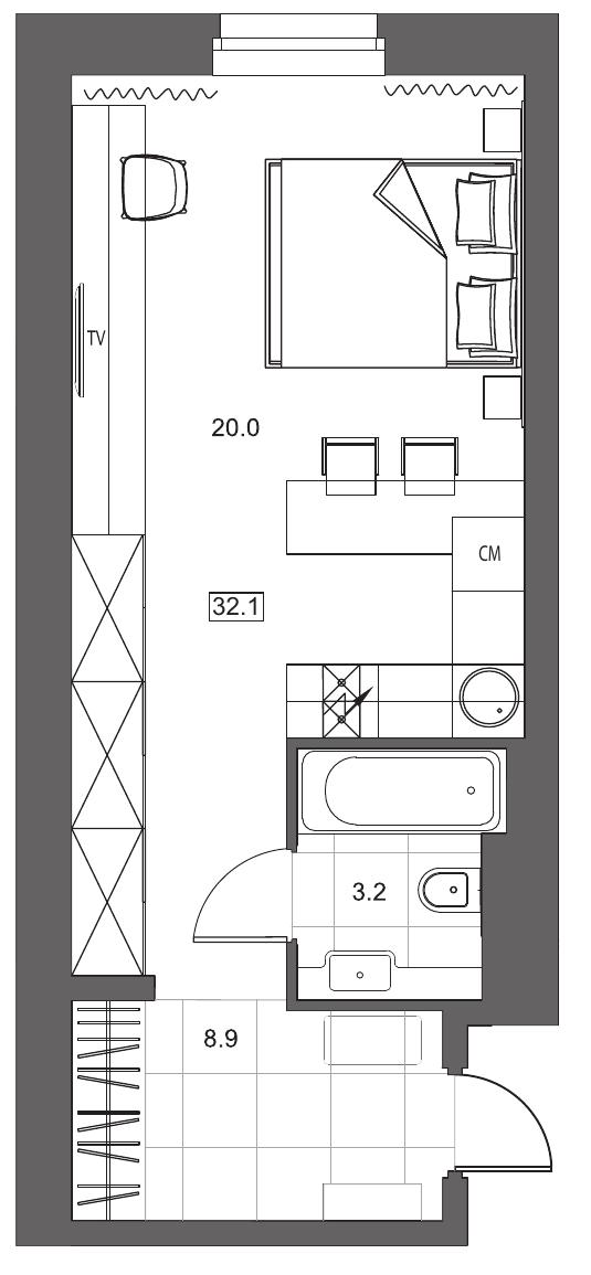 Планировка Однокомнатная квартира площадью 32.1 кв.м в ЖК «YE'S на Социалистической»