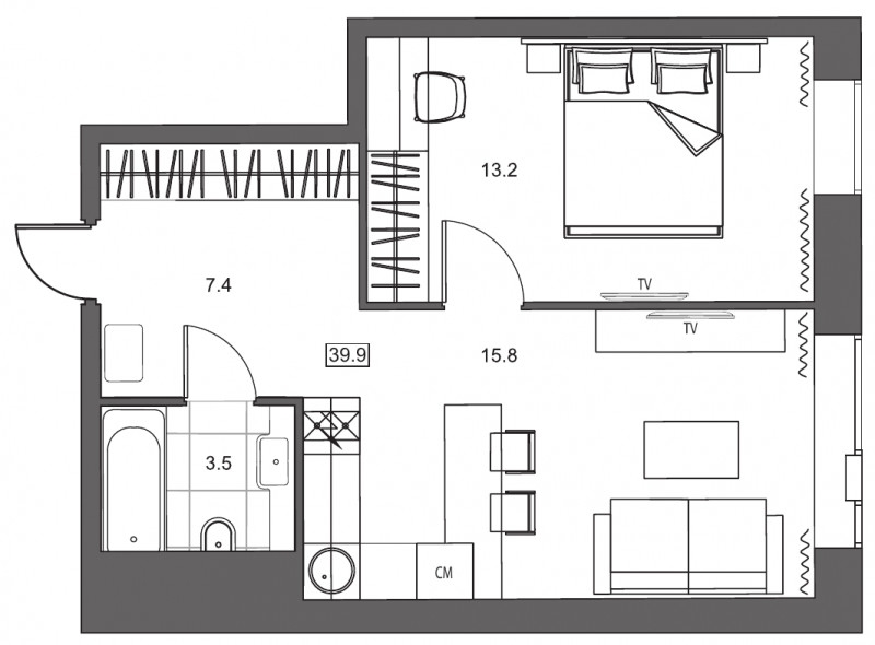 Планировка Однокомнатная квартира площадью 39.9 кв.м в ЖК «