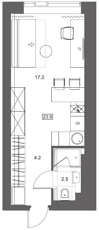 Планировка Студия площадью 23.9 кв.м в ЖК «YE'S на Социалистической»