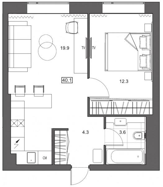 Планировка Однокомнатная квартира площадью 40.1 кв.м в ЖК «
