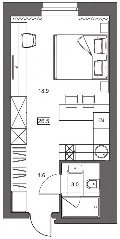 Планировка Студия площадью 26.5 кв.м в ЖК «