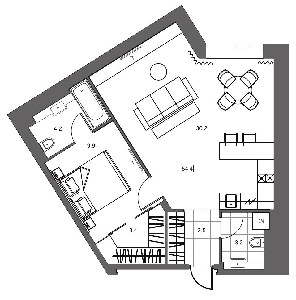 Планировка Однокомнатная квартира площадью 54.4 кв.м в ЖК «YE'S на Социалистической»