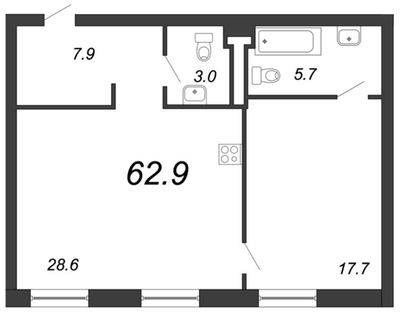Планировка Однокомнатная квартира площадью 62.9 кв.м в ЖК «YE'S на Социалистической»