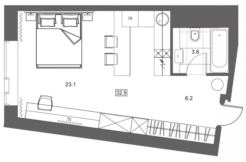 Планировка Студия площадью 32.9 кв.м в ЖК «