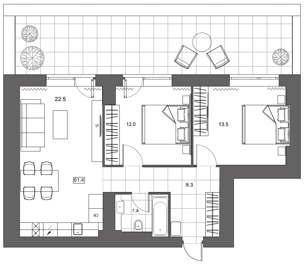 Планировка Трёхкомнатная квартира (Евро) площадью 61.4 кв.м в ЖК «YE'S на Социалистической»