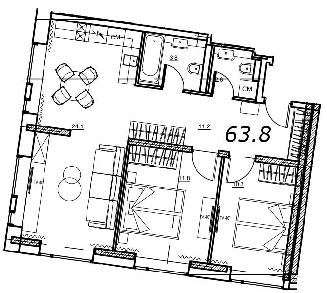 Планировка Двухкомнатная квартира площадью 63.8 кв.м в ЖК «YE'S на Социалистической»