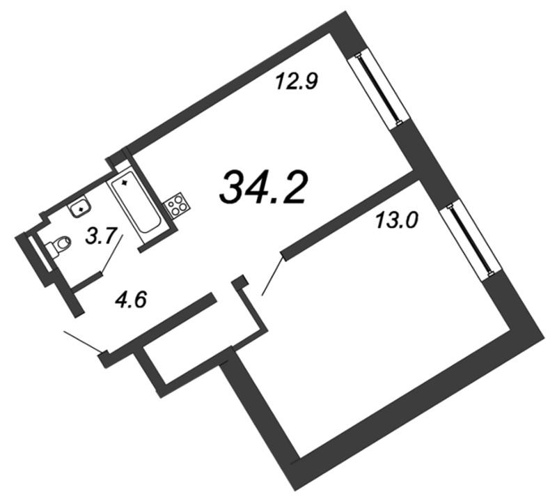 Планировка Однокомнатная квартира площадью 34.2 кв.м в ЖК «YE'S на Социалистической»