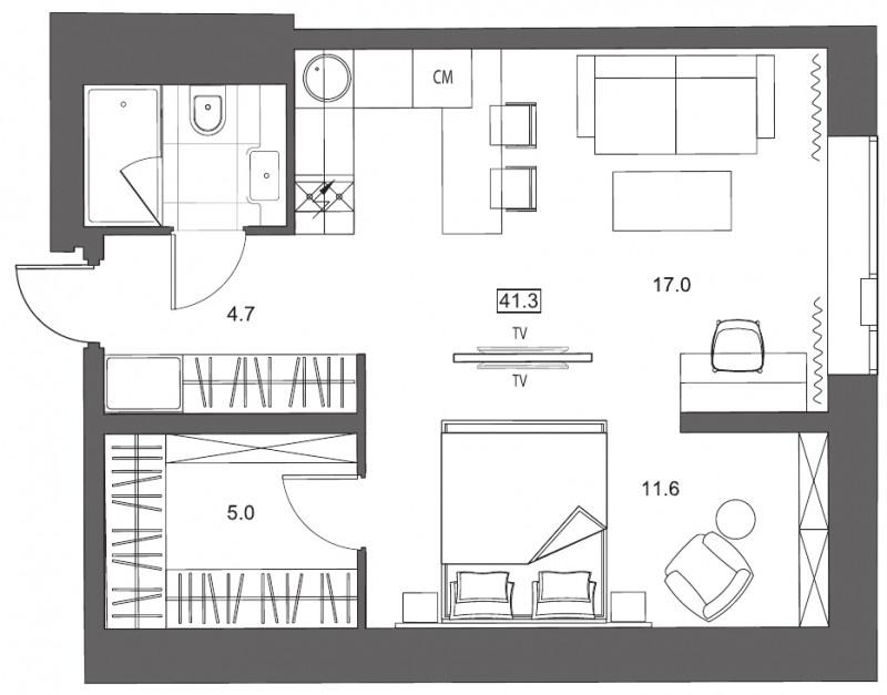 Планировка Однокомнатная квартира площадью 41.3 кв.м в ЖК «
