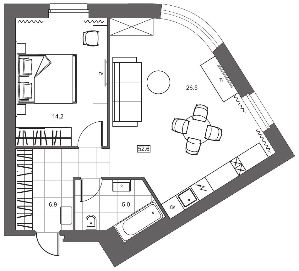 Планировка Однокомнатная квартира площадью 52.6 кв.м в ЖК «YE'S на Социалистической»