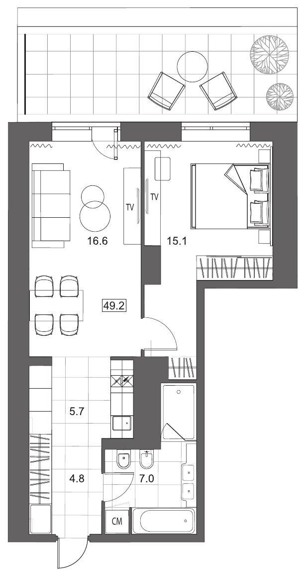 Планировка Двухкомнатная квартира площадью 49.2 кв.м в ЖК «YE'S на Социалистической»