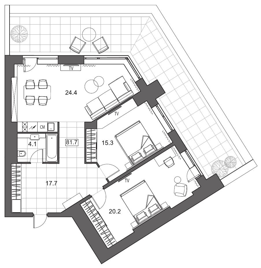 Планировка Трёхкомнатная квартира (Евро) площадью 81.7 кв.м в ЖК «YE'S на Социалистической»